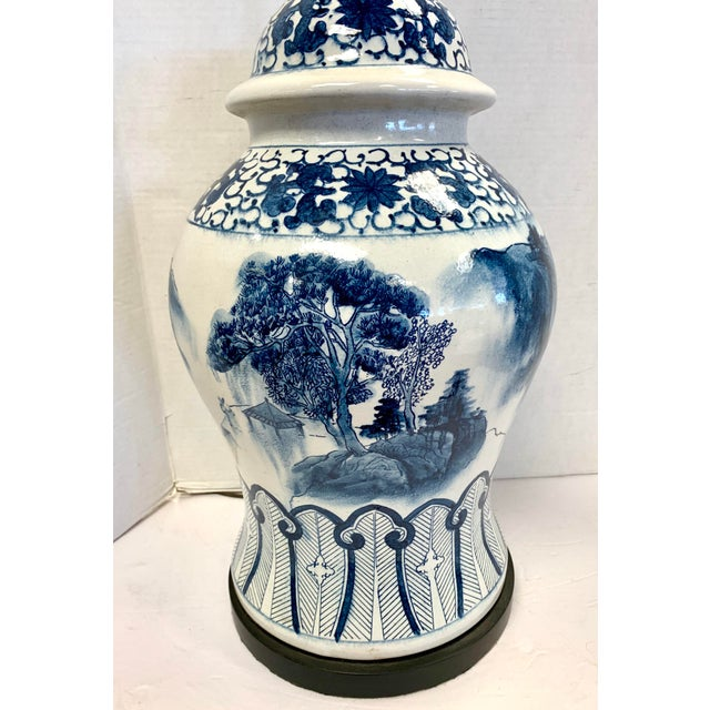 Asian Chapman Blue and White Chinoiserie Porcelain Lamp With Finial For Sale - Image 3 of 10