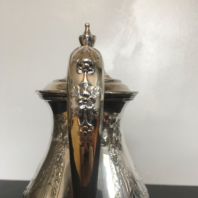 1930s 1930s Traditional Wilcox Hand Chased Silver Plated Coffee Pot For Sale - Image 5 of 13