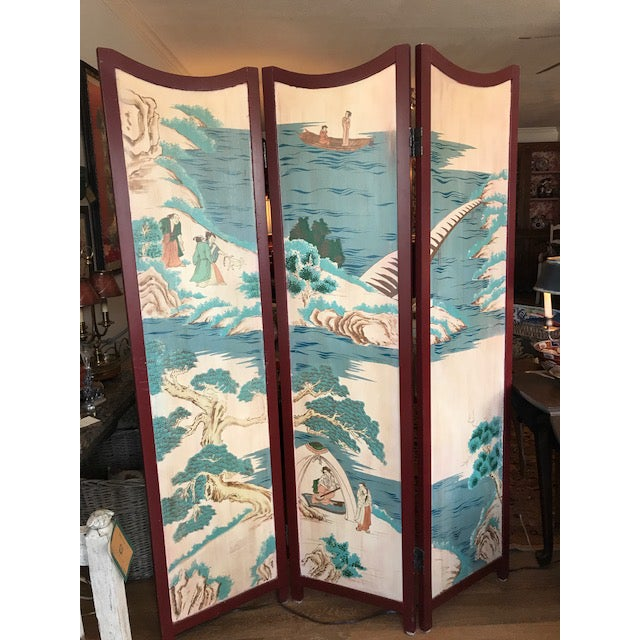 1960s Asian 3-Panel Screen For Sale - Image 9 of 11