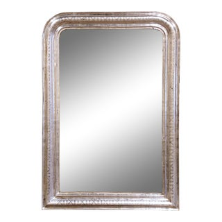 19th Century French Louis Philippe Silver Leaf Mirror With Geometric Motifs For Sale