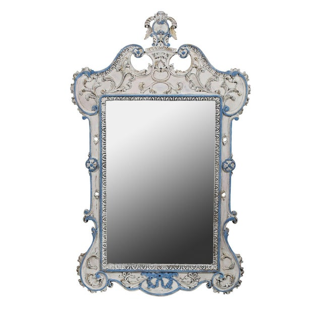 Blue & White French-Style Mirror - Image 1 of 6