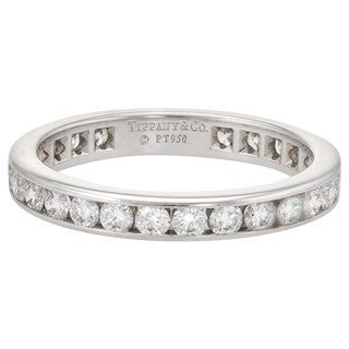 Estate Tiffany & Co. 1 Carat Diamond Wedding Band Platinum Wide Ring For Sale
