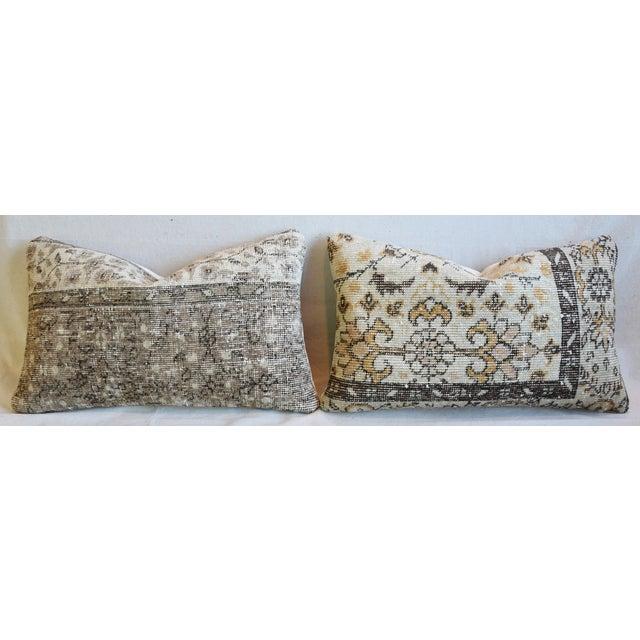 """Cotton Antique Soumak Carpet Wool Feather/Down Pillows 26"""" X 16"""" - Pair For Sale - Image 7 of 13"""