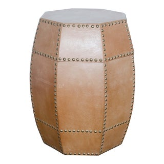 Leather Drum Side Table For Sale