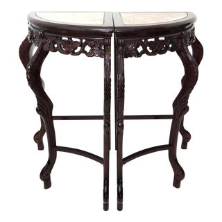 Pair of High Italian Style Pink Beige Marble Top Corner Side Tables, Pedestals or Demi-Lune For Sale