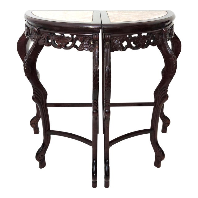 Pair of Italian Style Marble Top Corner Hallway Tables, Pedestals or Demi-Lune For Sale