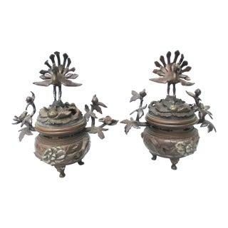 Pair Meiji Bronze Incense Burners For Sale