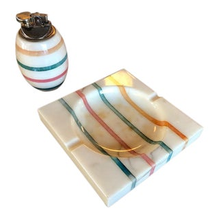 1960s Italian Alabaster Ashtray and Lighter Set For Sale