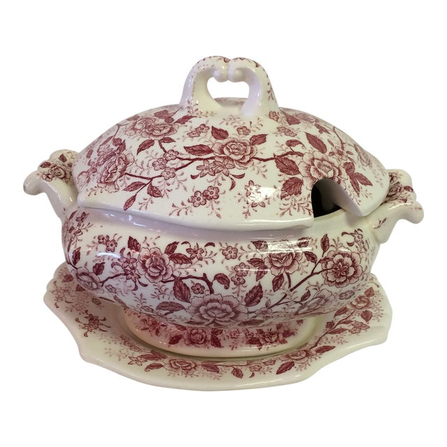 Antique English Rose Transferware Tureen With Underplate - 3 Piece Set For Sale