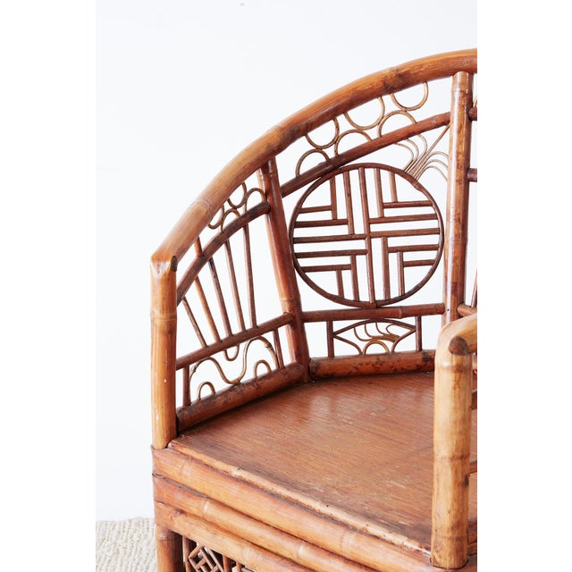 Set of Four Brighton Pavillion Style Bamboo Armchairs For Sale - Image 10 of 13