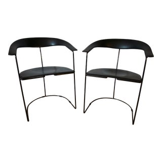 Vintage Mid Century Arrben Italian Black Leather Armchairs- A Pair For Sale