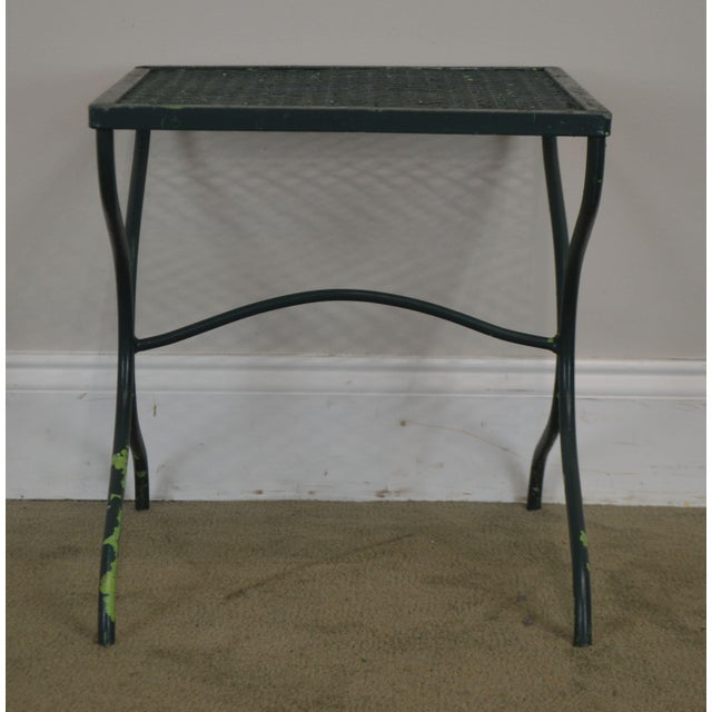 Salterini Vintage Expanded Metal Wrought Iron Pair X-Base Patio Side Tables For Sale - Image 11 of 13