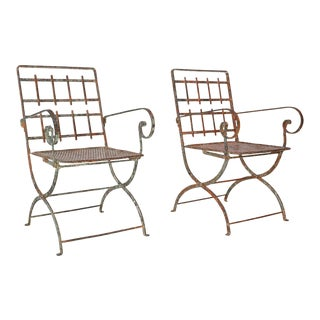 Pair of French Iron Garden Chairs For Sale