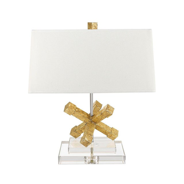 Contemporary Jackson Square Gold Steel Table Lamp For Sale - Image 4 of 7