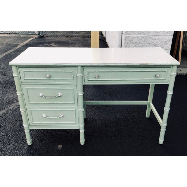 Lovely Faux bamboo desk. Structurally sound, drawers are all dovetailed. Very solid piece. You may wish to repaint, but is...
