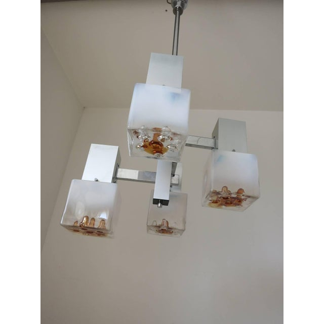 Vintage Italian pendant with lightly frosted Murano glass cubes and infused amber glass details, mounted geometrically on...