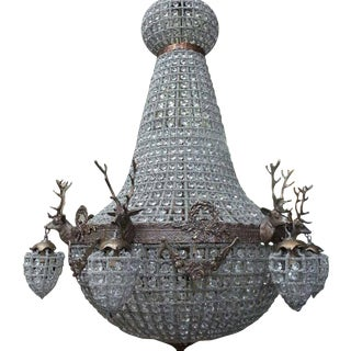 Empire Stag Chandelier with Beautiful Details. For Sale