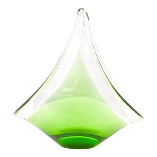 Vintage Green Blown Art Glass Bowl