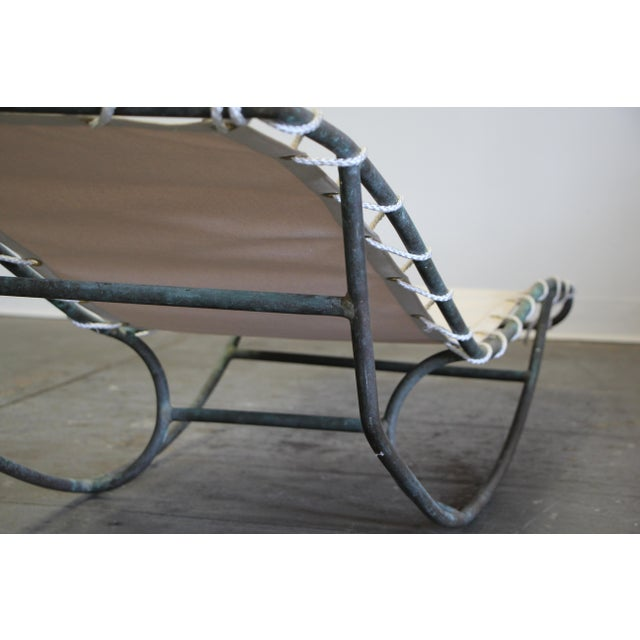 Mid-Century Modern Early Walter Lamb Bronze Rocking Chaise For Sale - Image 3 of 13