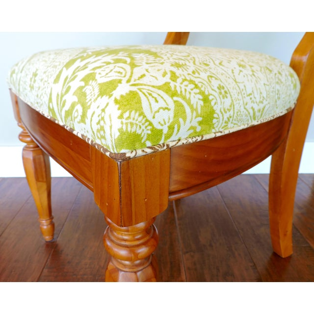 Green and Cream Linen Batik Print Side Chair For Sale In Los Angeles - Image 6 of 8