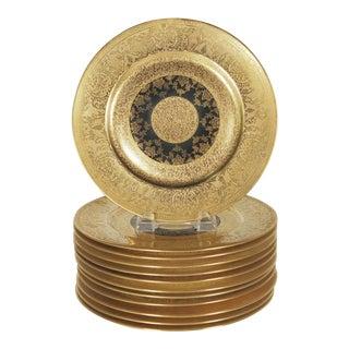 20th Century Edwardian Heinrich & Co. Black & Gold Service Plates - Set of 12
