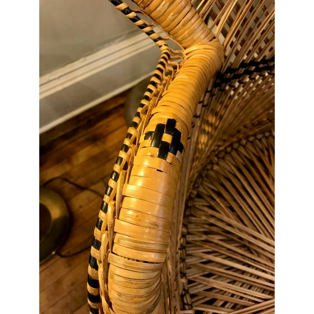Mid Century Modern Wicker Peacock Chair For Sale - Image 4 of 6