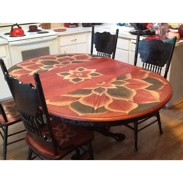 Wood Stain Art Dining Table Set - Image 6 of 7