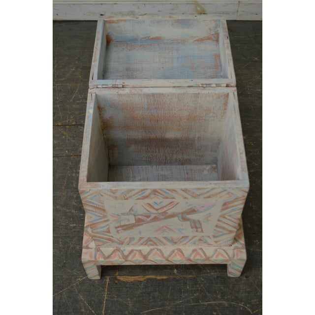 Hand Painted Folk Art Small Lift Top Chest For Sale In Philadelphia - Image 6 of 11