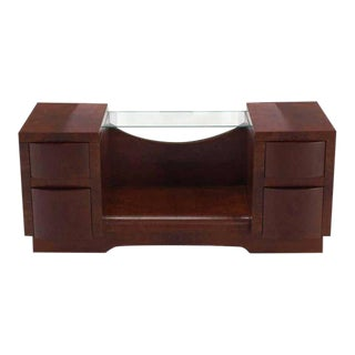 Vintage Mid Century Burl Wood Art Deco Vanity For Sale