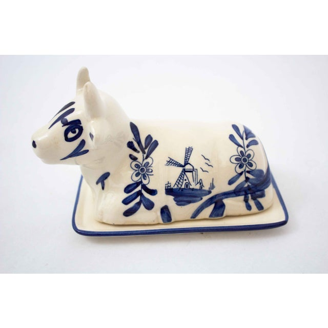 Mid 20th Century Hand Painted Blue & White Cow Butter Dish For Sale In Dallas - Image 6 of 7