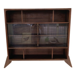 1960s Sculptural Walnut Bookcase For Sale