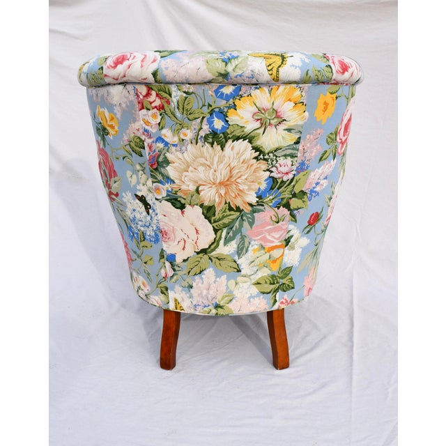 Metal Baker Furniture Floral Tufted Wingback Chair on Brass Casters For Sale - Image 7 of 13