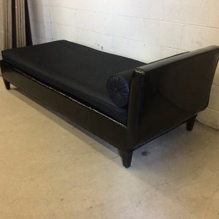 Black Patent Leather & Linen Chaise Lounge Bench Preview