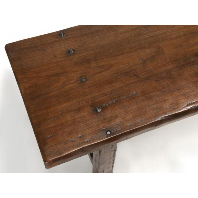 Wood French Farm Table With Matching Benches - 3 Pc. Set For Sale - Image 7 of 13