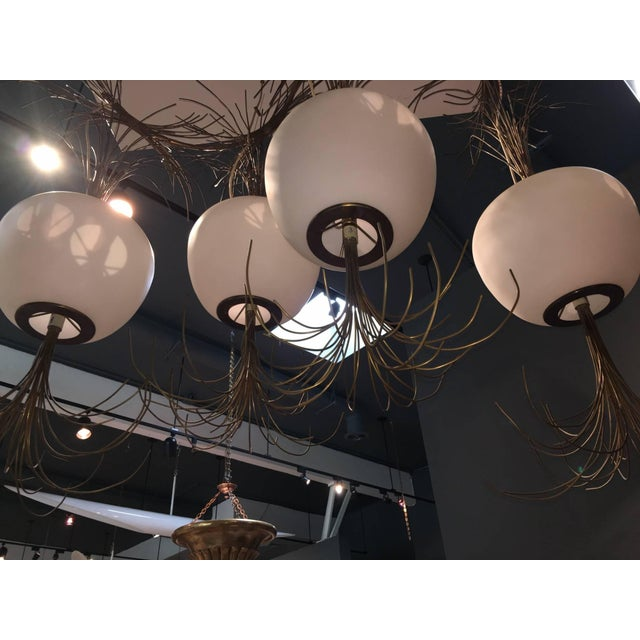 Contemporary Roberto Giulio Rida a Unique and Original Sculptural Opaline Glass and Brass Ceiling Light Fixture For Sale - Image 3 of 6
