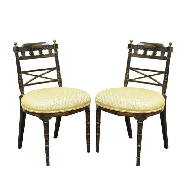 Pair of Antique Chinoiserie Oriental Japanned Black Painted Pagoda Side Chairs For Sale - Image 11 of 11