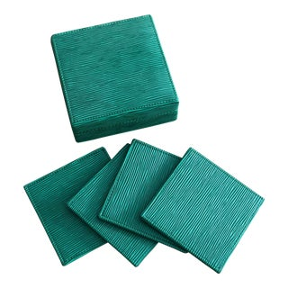 Epi-Leather Style Coasters With Box Set of 4 For Sale