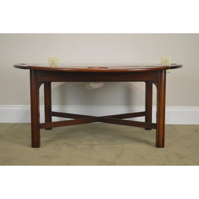 1990s Chippendale Style Mahogany Butlers Coffee Table For Sale - Image 5 of 13