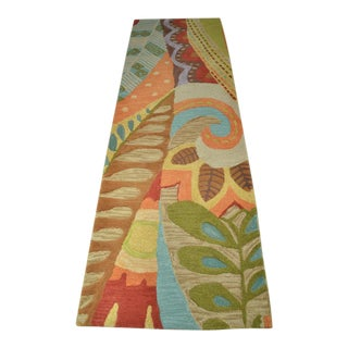Attractive Multi-Colored Wool Runner in Deco Pattern For Sale