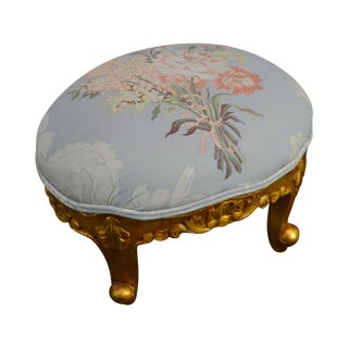 Rococo Gilt Wood Small Oval Foot Stool For Sale