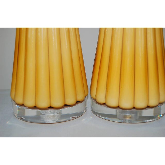 Vintage Murano Glass Pleated Table Lamps in Butterscotch For Sale - Image 10 of 10