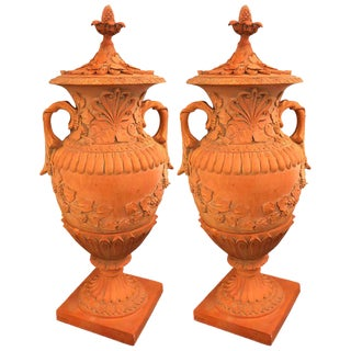 Pair of Monumental Terracotta Three-Piece Lidded Urns