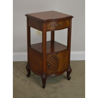 R. J. Horner Antique Marquetry Inlaid Mahogany Serpentine Nightstand Preview