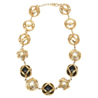 Christian Dior Runway Resin / Faux Pearl / Gold Plated Ball Necklace For Sale