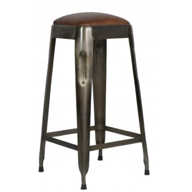 Mid-Century Modern Industrial Style /Ironworks Barstool With Leather Top W/ Number For Sale - Image 3 of 3