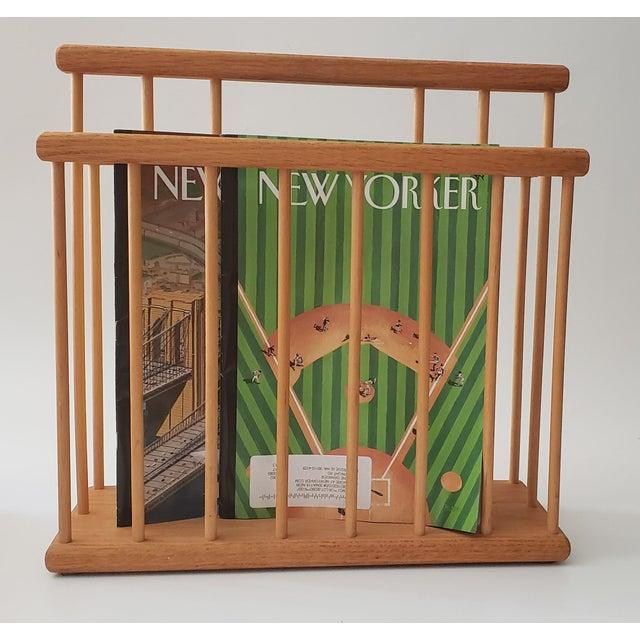 20th Century Scandinavian/ Modernist-Style Oak Magazine Rack For Sale - Image 4 of 6