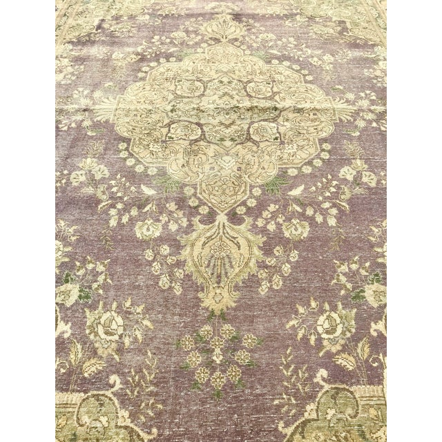 1920s Large Antique Turkish Plum, Green, Beige Wool Rug - 9′5″ × 12′5″ For Sale - Image 5 of 13