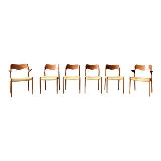 Set of 6 Teak Danish Dining Chairs by J L Møller For Sale