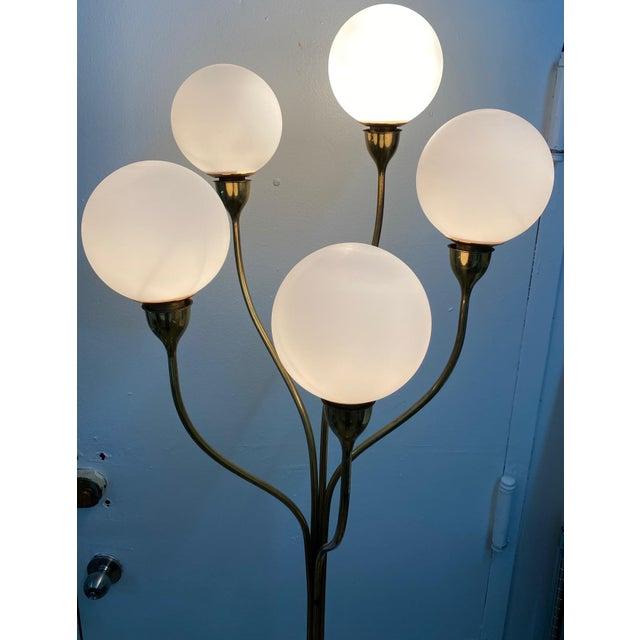 Mid-Century Modern 1970s Five-Globe Undulating Brass Floor Lamp For Sale - Image 3 of 12