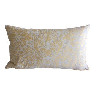 "Fortuny ""Sevres"" Straw and Ivory Pattern Pillow For Sale"